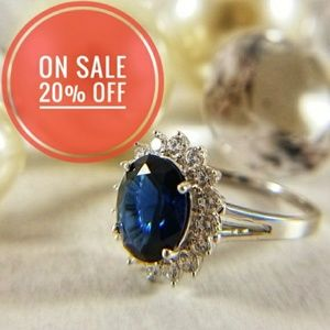 Kate Oval princess Blue Sapphire Engagement Ring